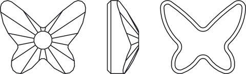 Swarovski Flat Back Crystal 2855 - Butterfly Line Drawing
