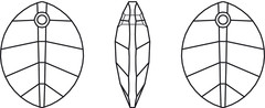 Swarovski Crystal Pendants - 6734 - Pure Leaf - 23mm Line Drawing