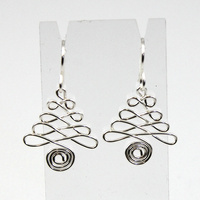 Wired Christmas Tree Earrings - Silver