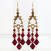Bicone Drop Earrings - Swarovski Crystal - Ruby and Gold