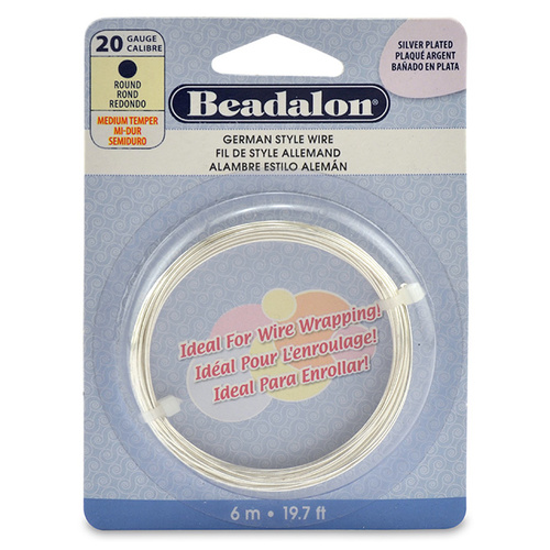 20 Gauge (0.81 mm) Round German Style Wire - 19.7 ft (6 m) - Silver Plated - 180B-020