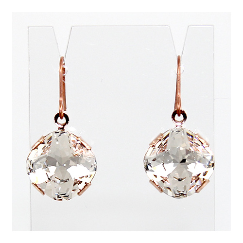 Antique Square Swarovski Crystal Earrings - Crystal & Rose Gold