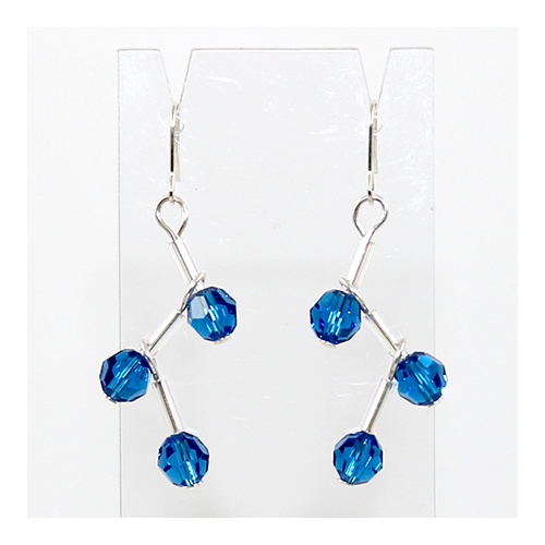 Rosemary Crystal Earrings - Swarovski Crystal -  Capri Blue & Silver