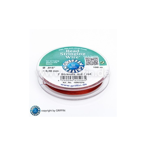 Bead Stringing Wire 7 strands .015 inch~0.38mm, Red 100m spool