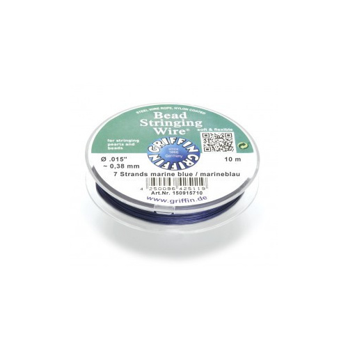 Bead Stringing Wire 7 strands .015 inch~0.38mm, Marine Blue 10m spool