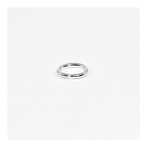 6mm x 8mm Oval Jump Rings - Brass Base - Silver