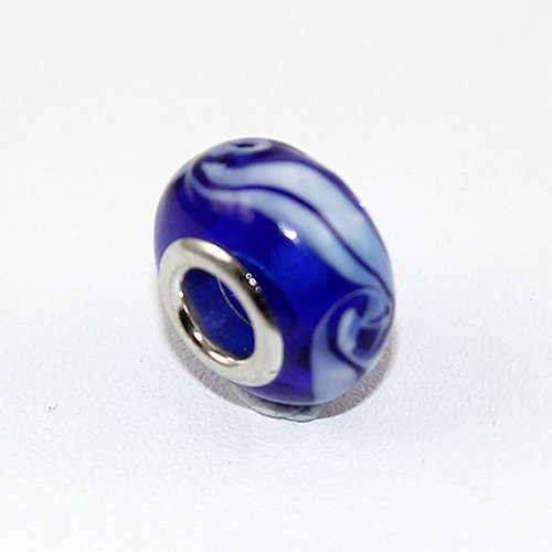 Ripple Patterned Deep Blue Glass Euro Bead with a Silver Plate Core