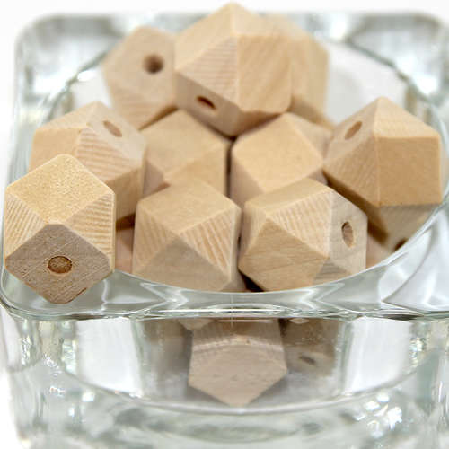 16mm Polyhedron Faceted Hinoki Wood Beads - Natural