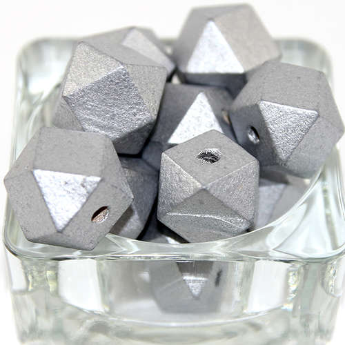 20mm Polyhedron Faceted Hinoki Wood Beads - Silver