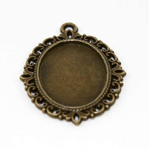 25mm x 18mm Cabochon Setting Filigree Pendant - Antique Bronze Plated