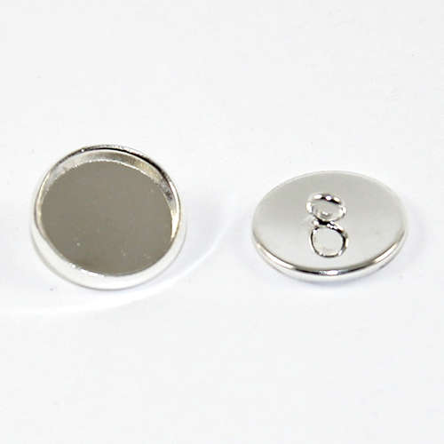 12mm Cabochon Setting Button - Silver Plated