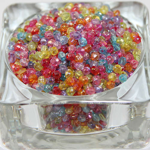 4mm Faceted AB Acrylic Beads - Mixed Colours