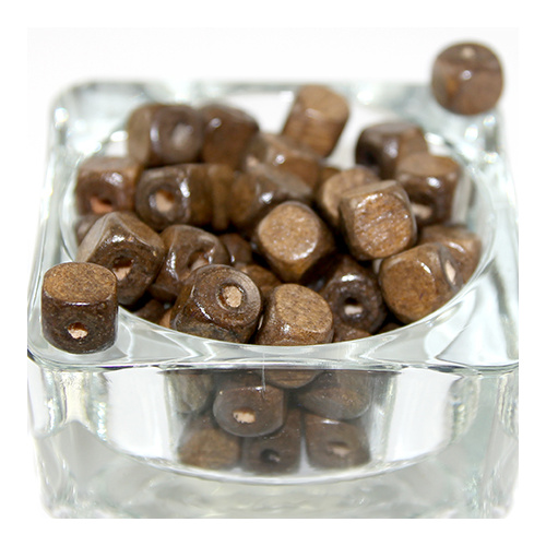 Cube Wooden Bead - Brown