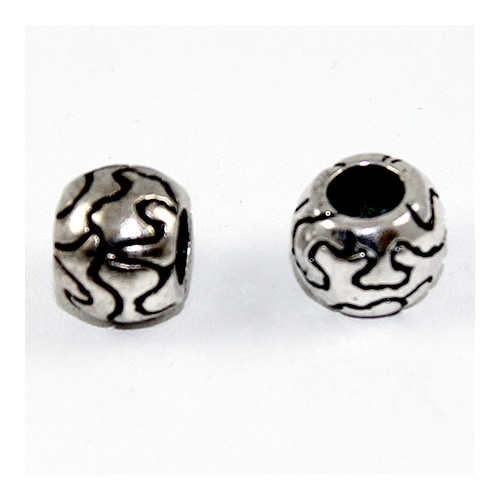 Carved Lines Euro Bead - Antique Silver