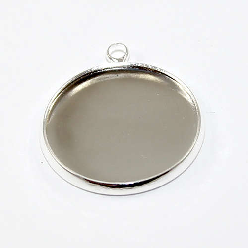 20mm Cabochon Pendant Setting - Silver Plated