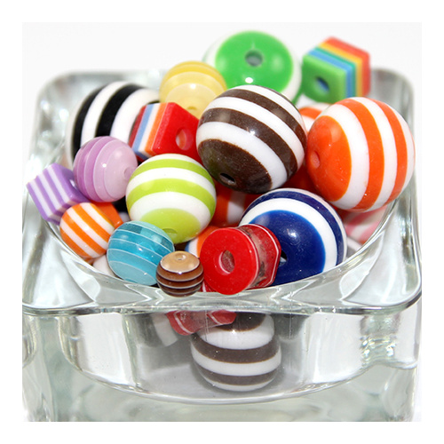 Mixed Shape Striped Resin Beads - Mixed Colour - sold per gram