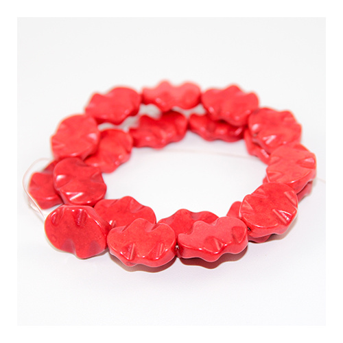 20mm x 15mm Wavy Dyed Oval Howlite Bead Strand - Red