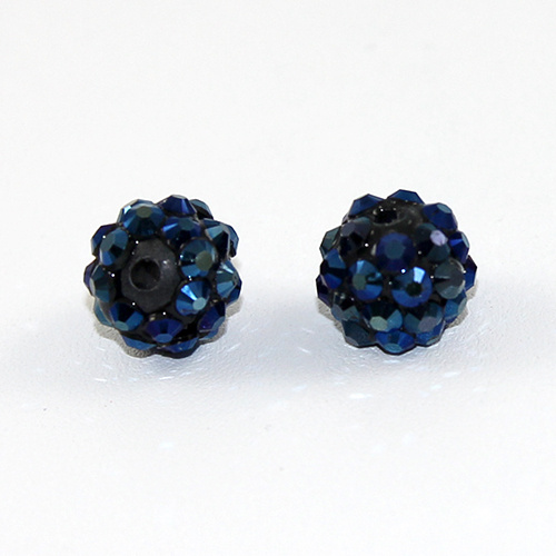 10mm Rhinestone Resin Bead - Metallic Blue