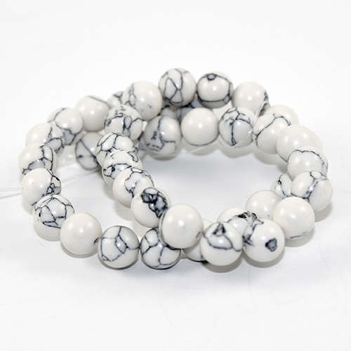 10mm Natural Howlite Round Beads - 42 piece Strands - White & Grey