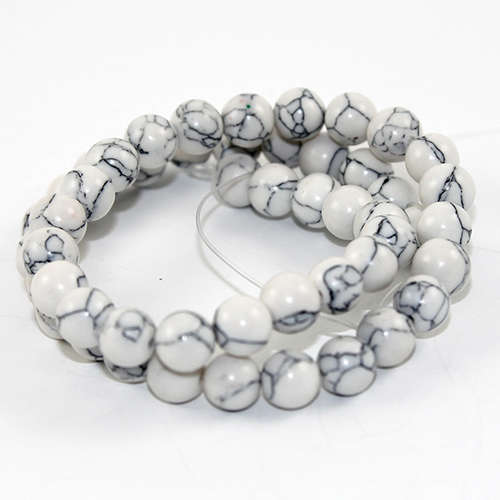 8mm Natural Howlite Round Beads - 50 piece Strands - White & Grey