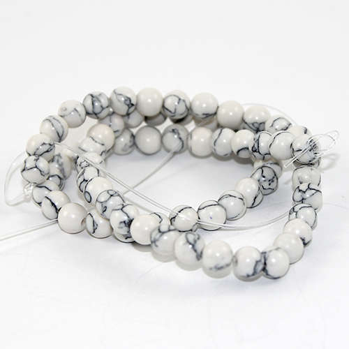 6mm Natural Howlite Round Beads - 67 piece Strands - White & Grey