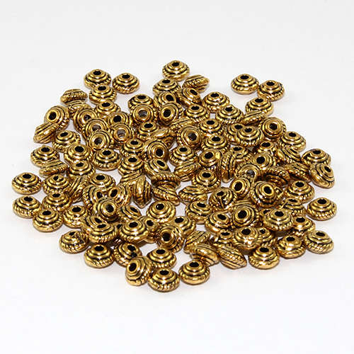 5mm x 3mm Rope Bicone Spacer Bead - Antique Gold
