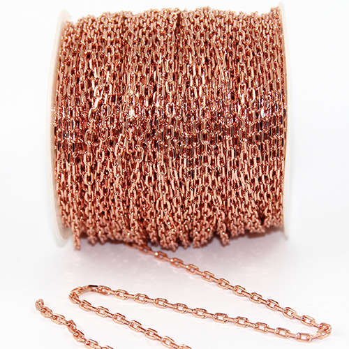 3.5mm Cross Cable Chain - Electroplated - Rose Gold Plate