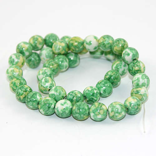10mm Dyed White Jade Round Beads - 38cm Strand - Pale Green