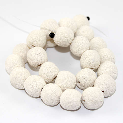 16mm Round Natural Lava Beads - 38cm Strand - White