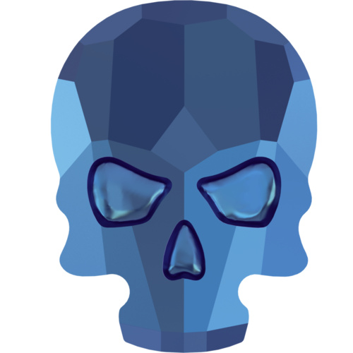 2856 - 7.7mm x 10mm - Crystal Metallic Blue F (001 METBL) - Skull Hot Fix Flat Back Crystal