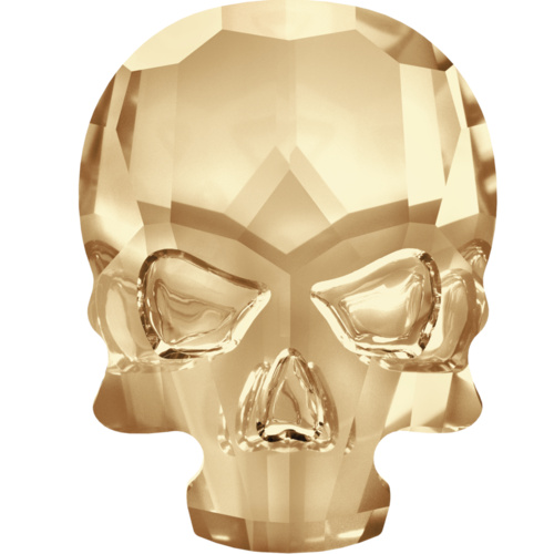 2856 - 14mm x 8mm - Crystal Golden Shadow F (001 GSHA) - Skull Hot Fix Flat Back Crystal