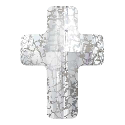 5378 - 14mm - Crystal Silver Patina (001 SILPA) - Cross Crystal Bead