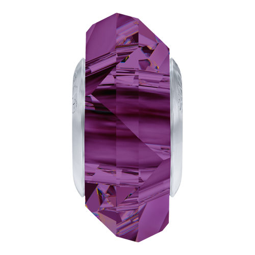 5929 - 14mm Steel - Amethyst (204) - BeCharmed Fortune Bead (Large Hole) Crystal Bead