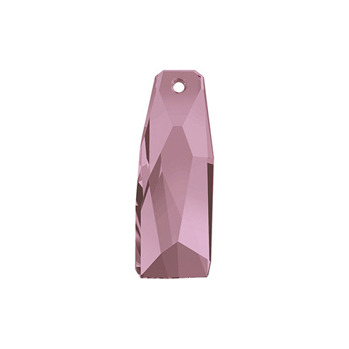 6019/G - 35mm - Crystal Antique Pink (001 ANTPV) - Petite Crystalactite (Partly Frosted) Crystal Pendant