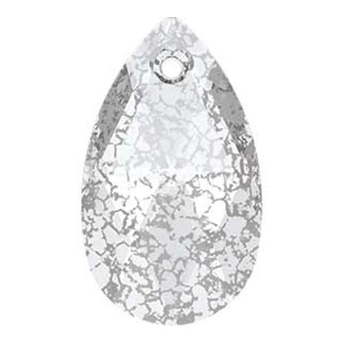 6106 - 22mm - Crystal Silver Patina (001 SILPA) - Pear Crystal Pendant
