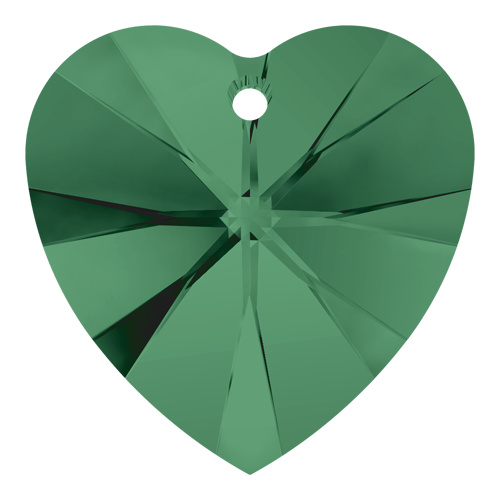 6228 - 10.3mm x 10mm - Emerald (205) - Xilion Heart Crystal Pendant