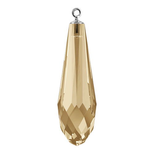 6532 - 21mm - Crystal Golden Shadow RHOD (001 GSHA) - Pure Drop Crystal Pendant with Trumpet Cap