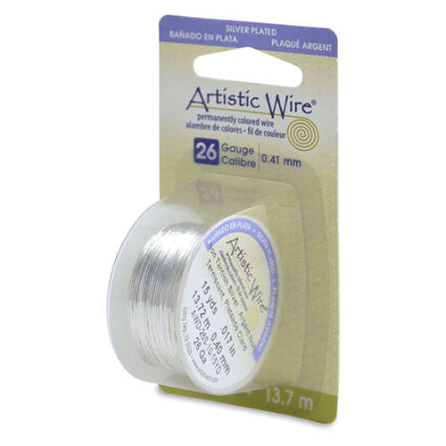 26 Gauge (.41mm) 15 yd (13.7 m) - Silver Plated - Tarnish Resistant Silver