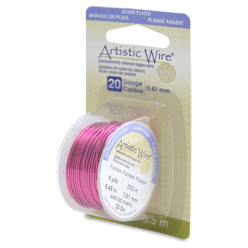 20 Gauge (.81 mm) 6 yd (5.5 m) - Silver Plated, Fuchsia - AWD-20S-15-06YD