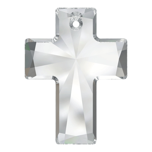 6864 - 40mm x 30mm - Crystal (001) - Cross Crystal Pendant