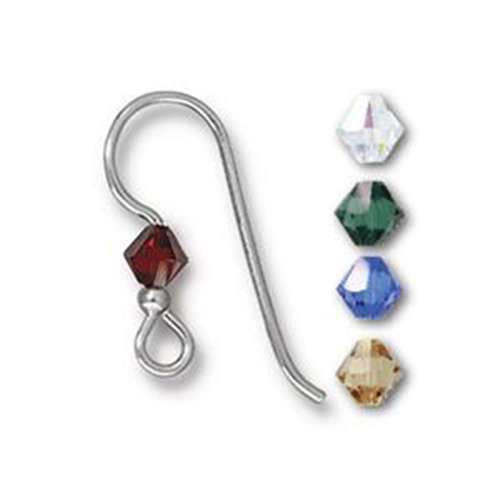 2mm Holiday Crystal Mix Earrings - Pair - Sterling Silver