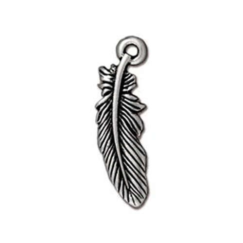 Feather Small Drop - Antique Silver