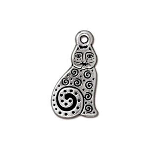 Spiral Cat Drop - Antique Silver