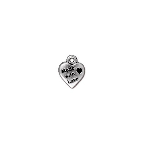 Made with Love Drop - Antique Silver