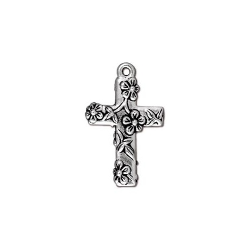 Floral Cross Drop - Antique Silver