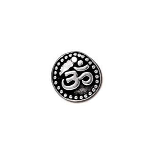 Om Coin Drop - Antique Silver