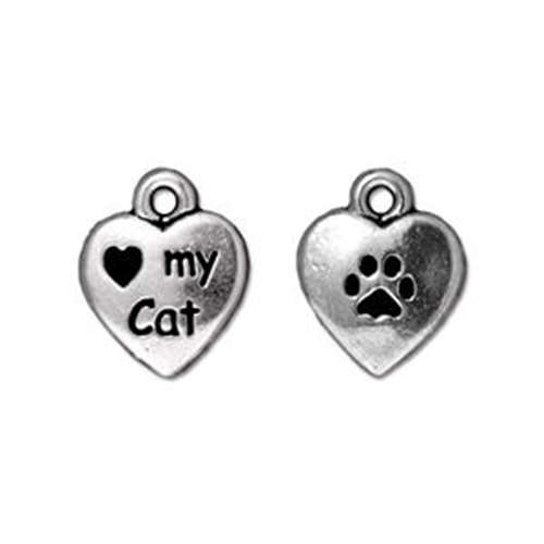 Love my Cat Drop - Antique Silver