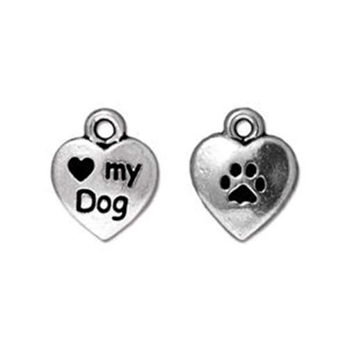 Love my Dog Drop - Antique Silver
