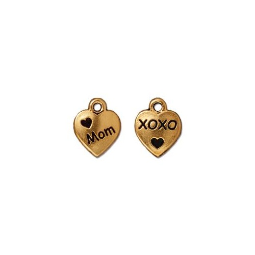 Love Mom Drop - Antique Gold