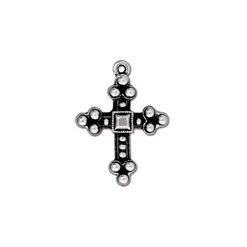 Byzantine Cross Drop - Antique Silver